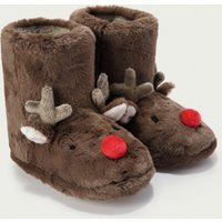 Reindeer Boot Slippers, Brown, 1/2