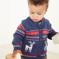 Reindeer Fair Isle Cardigan, Blue, 6-9mths