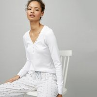 Rib Button-Placket Henley Pyjama Top , White, Extra Small