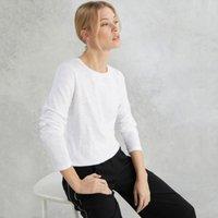 Rib Neck Long Sleeve T-Shirt, White, 6