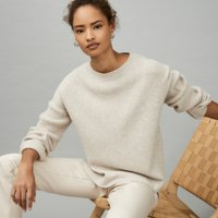 Rib Sleeve Jumper with Cashmere, Camel, Extra Large