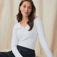 Rib Trim-Detail Henley Pyjama Top, White, Medium