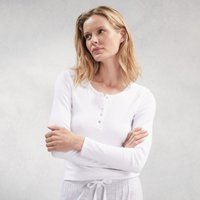 Ribbed Henley Pyjama Top, White, Large