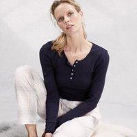 Ribbed Henley Pyjama Top, Navy, Extra Small