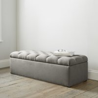 Richmond Cotton Ottoman Dark Stained Leg , Grey Cotton, One Size