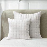 Romney Cushion Cover, White Grey, Medium Square