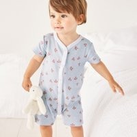 Rose Shortie Sleepsuit, Blue, 3-6mths