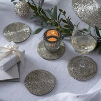 Round Beaded Coasters – Set of 4, Silver, One Size