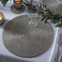 Round Beaded Placemats – Set of 2, Silver, One Size