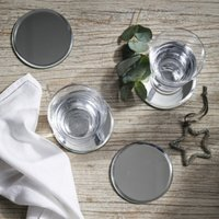 Round Mirror Coasters – Set of 4, Silver, One Size