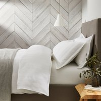 Salcombe Waffle Duvet Cover, White, Super King