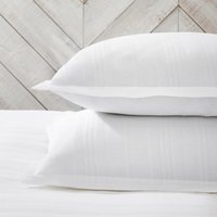 Salcombe Waffle Oxford Pillowcase with Border - Single, White, Standard
