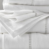 Santorini Linen Flat Sheet, White, Super King