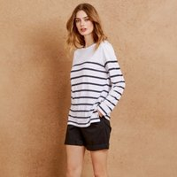 Cotton Stripe Button Side T-Shirt