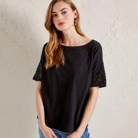 Cotton Sequin Sleeve T-Shirt