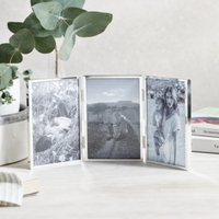 """Triple Aperture Hinged Fine Silver Photo Frame 4x6"""", Silver, One Size"""