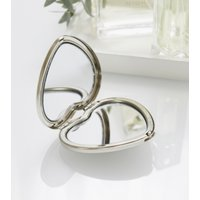 Heart Compact Mirror, Silver, One Size