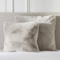 Super-Soft Faux Fur Cushion Cover, Natural, Medium Square