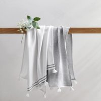 Suffolk Hamman Towels - Set of 2 , White Navy, Hand Towel