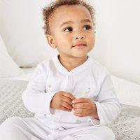 Safari Embroidered Sleepsuit, White, 18-24mths