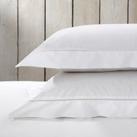 Santorini Oxford Pillowcase with Border – Single, White, Large Square