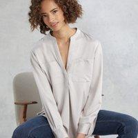 Satin Pocket Shirt , Mink, 18
