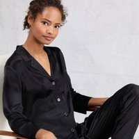 Satin Pyjama Shirt, Black, Extra Large