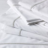Savoy Flat Sheet, White Silver, Double
