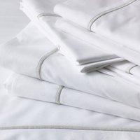 Savoy Flat Sheet, White Silver, Single
