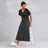 Sequin-Print Wrap Midi Dress , Dark Grey, 8