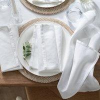 Seville Napkins - Set of 4, White, One Size