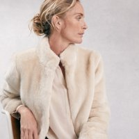 Short Faux-Fur Coat, Buttermilk, Medium