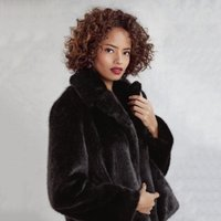 Short Revere Collar Faux-Fur Jacket , Black, Large
