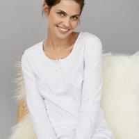 Short Spot Print Pyjama Set, White Blue, Large