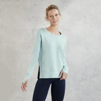 Side Split Crew-Neck Sweater, Ice Blue, Medium