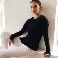 Side Split Crew-Neck Sweater, Black, Small