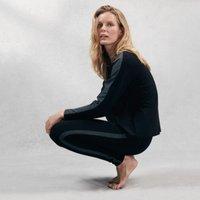 Side-Stripe Jersey Leggings, Black, Small