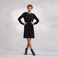 Side-Tie Knitted Dress with Cashmere , Black, 12