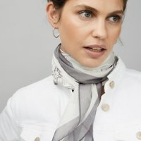 Silk Hand-Drawn Floral Scarf, White, One Size