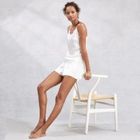 Silk Lace Trim Cami & Shorts Pyjama Set, Ivory, Large