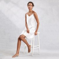 Silk Lace Trim Nightie, Ivory, Medium
