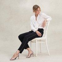 Silver Side-Stripe Trousers, Black, 6