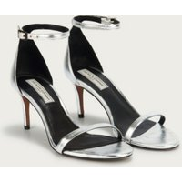 Single-Strap Heeled Sandals , Silver, 40