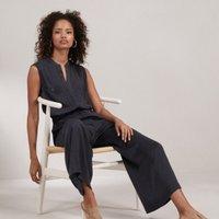 Sleeveless Wide-Leg Crop Jumpsuit, Storm Grey, 16