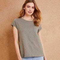 Slub Cotton Rib neck T-shirt, Sage, 4
