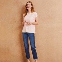Slub Cotton Rib neck T-shirt, Pink, 8