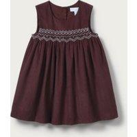 Smocked Corduroy Dress, Plum, 3-6mths