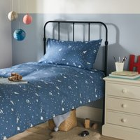 Space Glow-In-The-Dark Bed Linen Set, Blue, Cot Bed