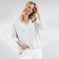 Sparkle Tipped V-Neck Jumper with Cashmere , Pale Blue Marl, 8