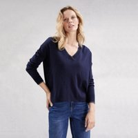Sparkle Tipped V-Neck Jumper with Cashmere , Navy, 14